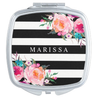 Pink Floral Watercolor Black White Compact Mirror