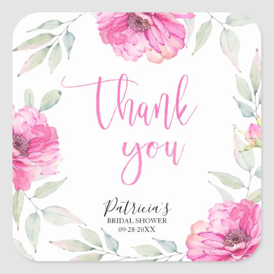 Pink Floral Watercolor Bridal Shower Thank You Square Sticker