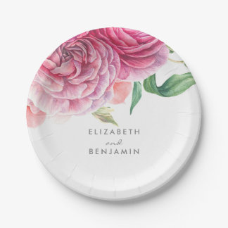 Pink Floral Watercolor Elegant Botanical Wedding Paper Plate
