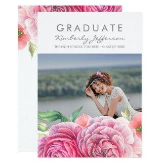 Pink Floral Watercolor Elegant Photo Graduation Card