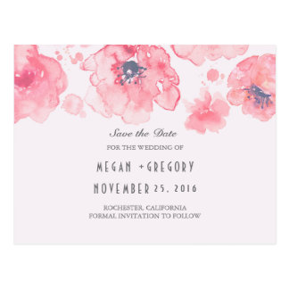 pink floral watercolor elegant save the date postcard