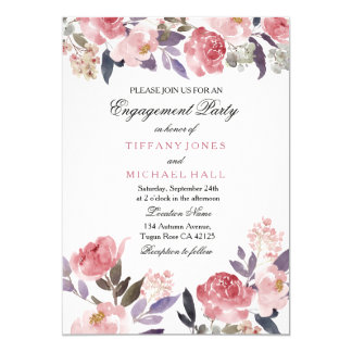 Pink Floral Watercolor Engagement Party Invitation