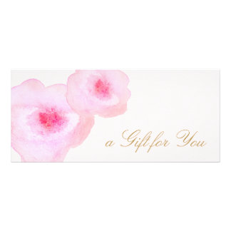 Pink Floral Watercolor Pink Gift Certificate Customised Rack Card