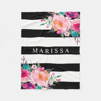 Pink Floral Watercolor Stylish Black White Stripe Fleece Blanket