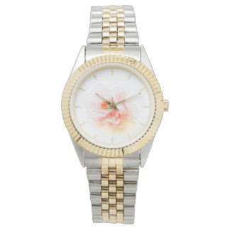 Pink Floral Watercolor Watch with Silver and Gold