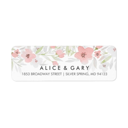 Pink Floral Watercolor Wedding Labels