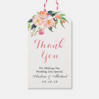 Pink Floral Watercolor Wedding Thank You Gift Gift Tags