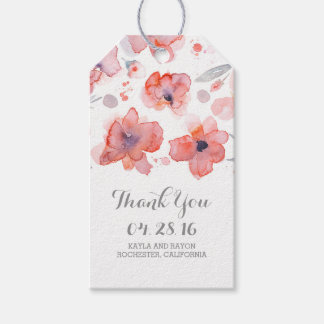 Pink Floral Watercolor Wedding Thank You Gift Tags