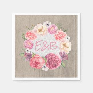 Pink Floral Watercolor Wreath Monogram Rustic Paper Serviettes