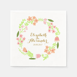 Pink floral wedding wreath gold script disposable napkin