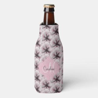 Pink Floral with Monogram Bottle Cooler