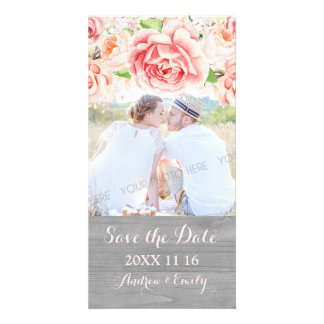 Pink Floral Wood Save the Date Wedding Photo Card