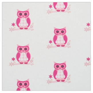 Pink Floral Woodland Girly Owl Fabric