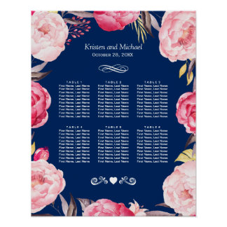 Pink Floral Wreath 6 Tables Wedding Seating Chart