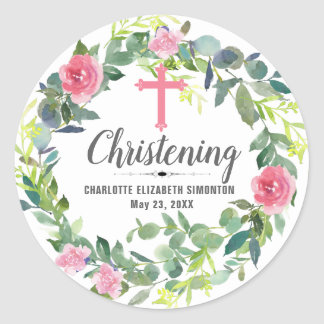 Pink Floral Wreath Cross Personalized Christening Classic Round Sticker