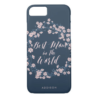 Pink Floral Wreath iPhone 7 Cases Best Mom