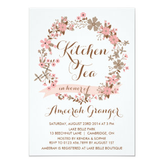 Pink Floral Wreath Kitchen Tea Party Invitation