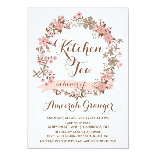 pink floral wreath kitchen tea party invitation zazzle