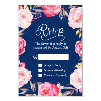 Pink Floral Wreath Navy Blue RSVP Reply Card