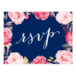 Pink Floral Wreath Navy Blue Wedding RSVP Reply Postcard