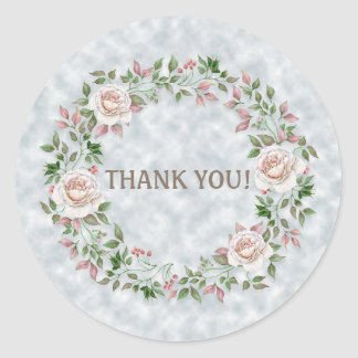 Pink Floral Wreath on Light Blue Thank You Sticker