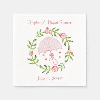 Pink Floral Wreath, Umbrella Paper Serviettes