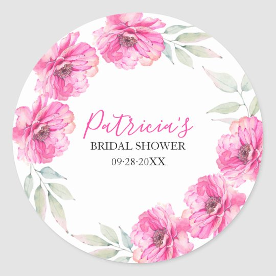 Pink Floral Wreath Watercolor Bridal Shower Classic Round Sticker