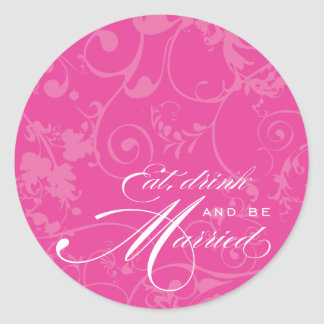 Pink Flourish Eat, Drink, and Be Married Sticker