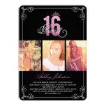 Pink Flourish Glam Sweet 16 Photo Birthday Party 13 Cm X 18 Cm Invitation Card
