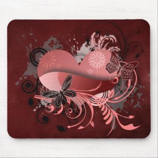 pink flourish heart mouse pad