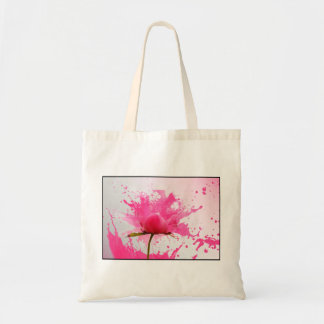 Pink Flower Abstract Paint Splatter Budget Tote Bag