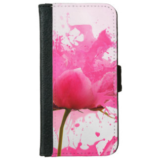 Pink Flower Abstract Paint Splatter iPhone 6 Wallet Case