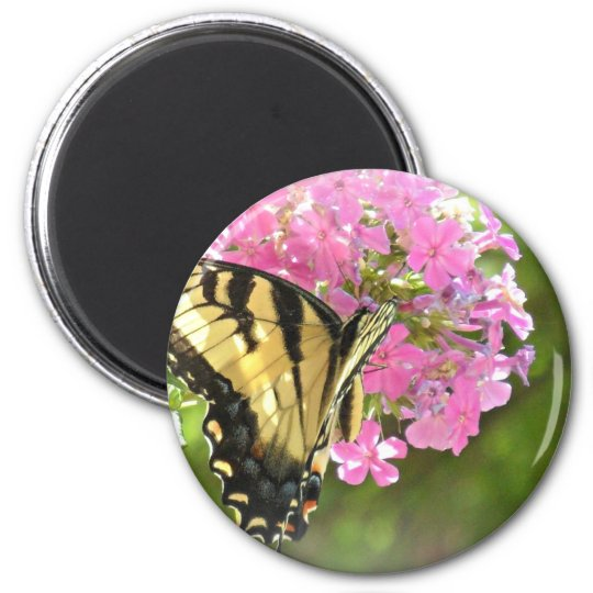 Pink Flower and Butterfly Magnet