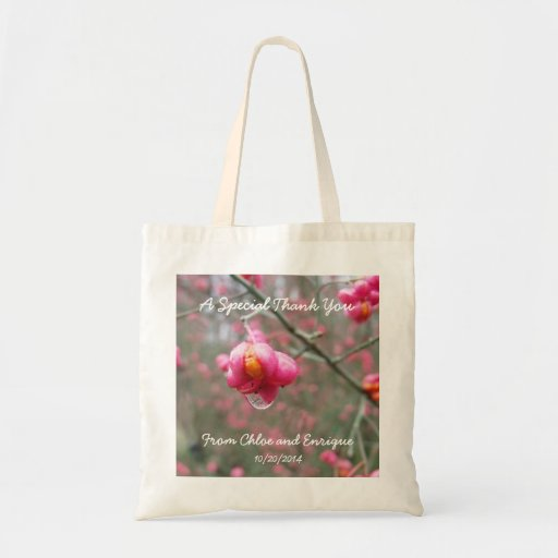 Pink Flower And Rain Drop Personalized Wedding Bag