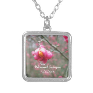 Pink Flower And Rain Drop Wedding favor Silver Plated Necklace