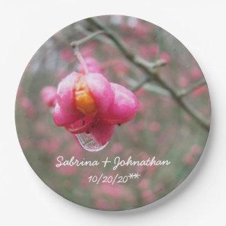 Pink Flower And Rain Drop Wedding Paper Plate