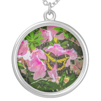 Pink Flower and the Butterfly Necklace