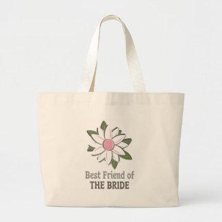 Pink Flower Best Friend Bride Jumbo Tote Bag