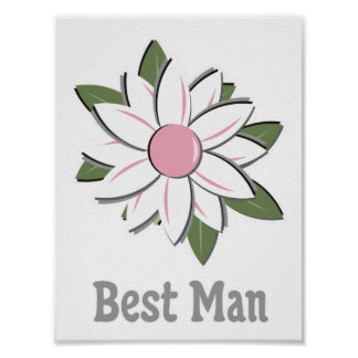 Pink Flower Best Man Posters