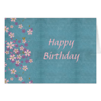 Pink Flower Birthday Card