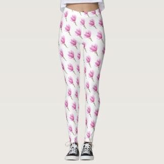 Pink Flower Blossom Drawing leggings