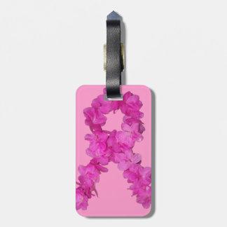 Pink Flower Breast Cancer Awareness Ribbon Bag Tag
