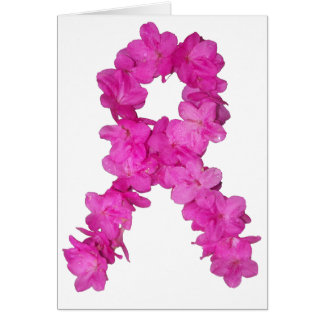 Pink Flower Breast Cancer Awareness Ribbon Cards