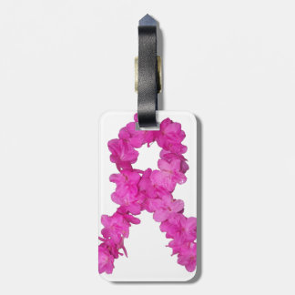 Pink Flower Breast Cancer Awareness Ribbon Luggage Tag