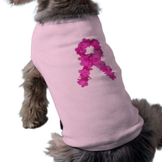 Pink Flower Breast Cancer Awareness Ribbon Sleeveless Dog Shirt