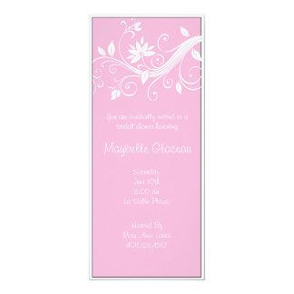 Pink Flower Bridal Shower 10 Cm X 24 Cm Invitation Card