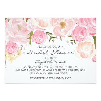 pink flower bridal shower invitation