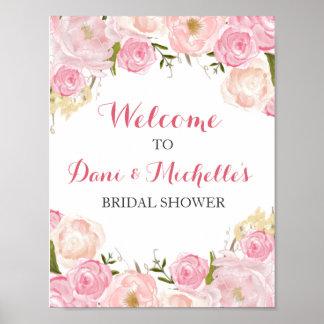 pink flower bridal shower SIGN