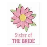 Pink Flower Bride Sister Postcard