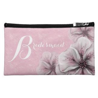 Pink Flower Bridesmaid Makeup Bag